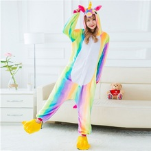 2017 Adult Winter Rainbow Stripe Unicorn Pajamas Unisex Animal Hooded Flannel Pajama Sets Cute Cartoon Unicornio Sleepwear p101(China)