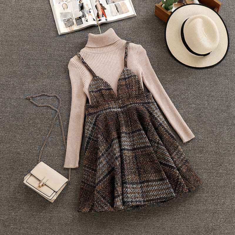 Fit Height 150cm-160cm Women 2019 Autumn Winter Long Sleeves Knitted Tops + Sleeveless Woolen Dress 2pcs sets fashion Suits A597