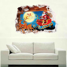 Creative Removable 3D Cartoon Merry Chrismas Santa Wall Sticker Art PVC Vinyl Decals Bedroom Decor Self adhesive Wall Stickers(China)