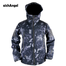 aichAngeI Army Camouflage Coat Military Jacket Man Waterproof Windbreaker Tactical Softshell Hoodie Jacket  Army Clothing