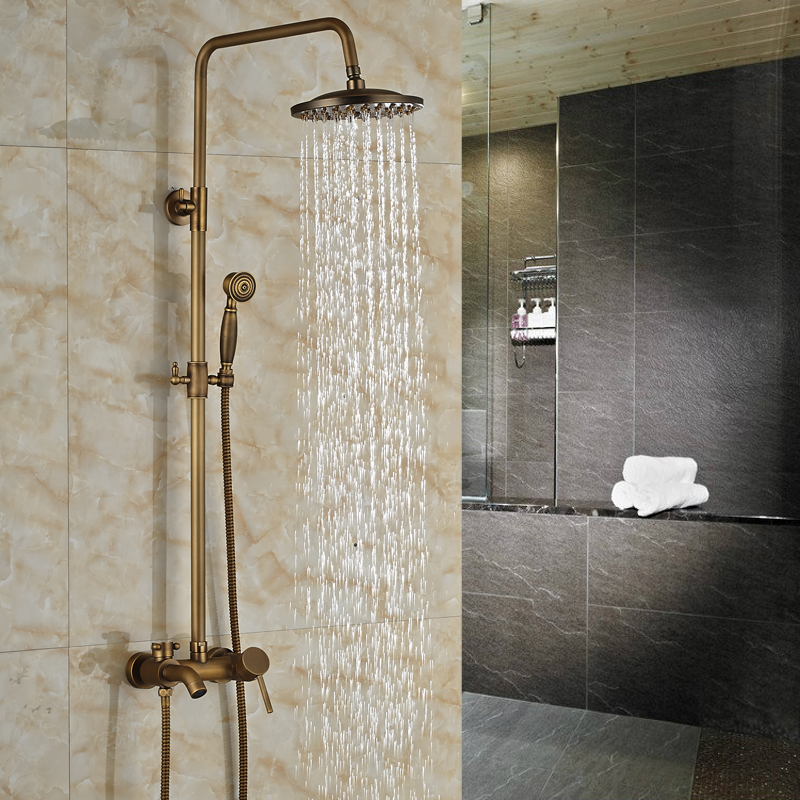 Wal Mount Antique Brass  Bath Shower Mixer Faucet Single Handle 8 Rainfall Shower Faucet with Handshower<br><br>Aliexpress