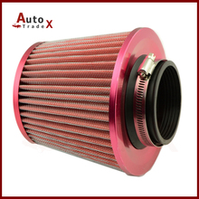 New Red Color Cold Air Intake Filter / Car Vehicle High Flow Air Filter / Adapter Neck:76mm Universal For Honda VW BMW