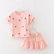 New summer fashion girl clothing Sets fashion baby girl clothes print star T-shirt and skirts girls clothes  hello kitty