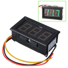 Promotion! DC 0-99V 3 Wire LED Digital Display Panel Volt Meter Voltmeter - Green(China)