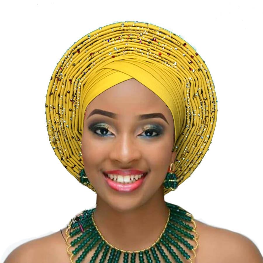2018 Nigerian gele headtie already made auto hele turban cap african aso ebi gele aso oke headtie big brim (4)