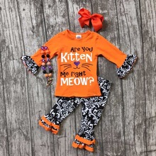 Fall/Winter baby girls ARE YOU KITTEN ME RUGHT Meow outfits Halloween Aztec pant boutique clothing kids ruffle match accessories(China)