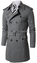 Custom Made Grey Black Double Breasted Trench Coat Men, Designer Winter Overcoat Men Long Coat, Cashmere Wool Coat Winter Coat(China)