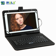 "iRULU New RUSSIAN KEYBOARD for 7""Tablet PC Using Russian Language People Leather Micro USB Keyboard Case Hot Seller"