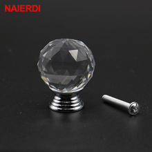 NAIERDI 20-30mm Crystal Ball Design Clear Crystal Glass Knobs Cupboard Drawer Pull Kitchen Cabinet Wardrobe Handles Hardware