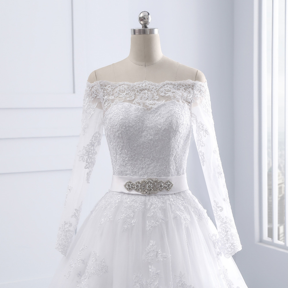Lover Kiss Wedding Dresses Princess Lace Bridal Bride Gowns with veil robe de mariage Luxury Vintage Long Sleeves off Shoulder 10