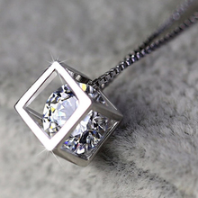 Knock  silver charms 925 Pendant Necklace Women Fine Jewelry Square Love Cube Mosaic Cubic Zirconia Crystal suspension