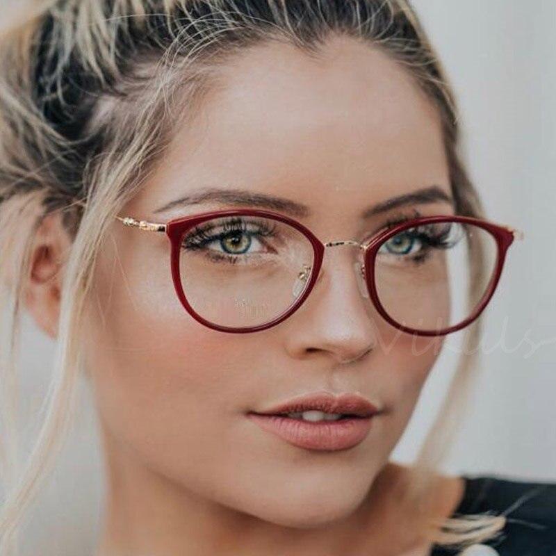 Women/'s vintage retro cat eye clear lens glasses