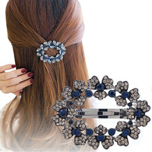 Haimeikang Women Fashion Hollow Rhinestone Hair Clip Hair Accessories Princess Blue Crystal Flower Spring Clip Hair Pins Gifts