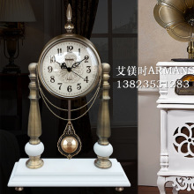 TUDA 2017 European Style Table Clock for Living Room Pendulum Clock Creative Metal Wood Garden Mute Retro Clock