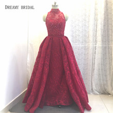 DREAMY BRIDAL Red Mermaid Long Evening Dresses High Neck Lace Beaded Formal Gowns Sequined Pleat Removable Train Robe De Soiree(China)