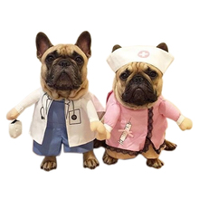 Funny Dogs Cat Costume Doctor And Nurse Suit Pet Halloween Christmas Clothing Uniform Clothes For Puppy Dogs Costume for a cat(China)