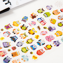 1sheet Owl Print memo sticker Cute Drawing Market Diary Transparent Scrapbooking Calendar Album Christmas Deco Sticker