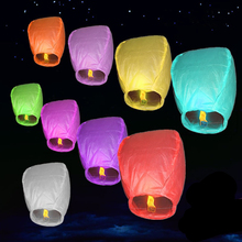 ZLJQ Wedding lanterns10 wishes light round paper Chinese lanterns hole Ming flying paper sky lanterns birthday wedding lanterns