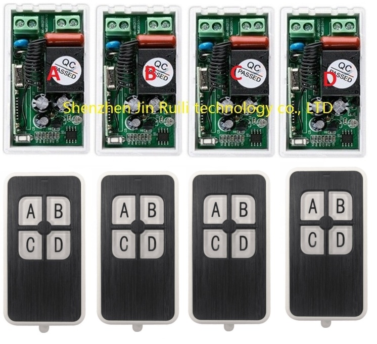 AC220V 1CH 10A RF Wireless Remote Control Switch System 433 MHZ 4 transmitter &amp; 4 receiver relay Receiver Smart Home Switch<br><br>Aliexpress