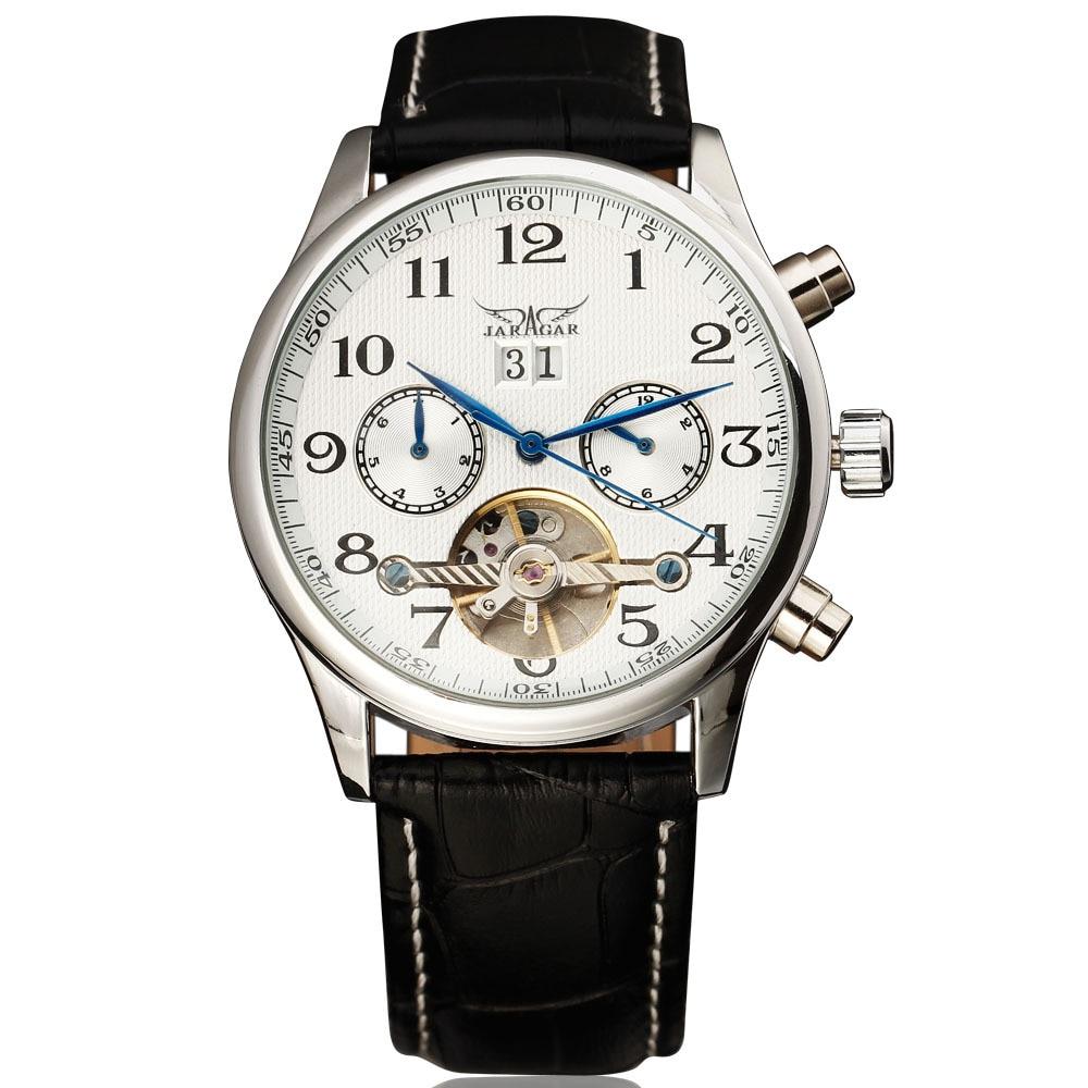 2016 New Fashion Brand JARAGAR Automatic Mechanical Self-Wind Tourbillon Complete Calendar Dial Leather Band Men Wrist Watch<br>