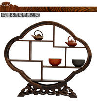 Crafts wenge Shelf antique wooden curio shelf of Chinese ornaments factory direct living room shelf(China)