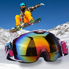 100% anti-UV Anti-fog Snowboard Glasses Spherical Professional PC Double Lens Ski Goggles Strong Wind/Light Proof Skiing Glasses(China)