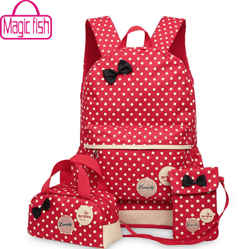 Magic fish School Bags For Teenagers girls backpack set women shoulder travel bags 3 Pcs/Set rucksack mochila backpacks LM3582mf(China (Mainland))