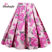 Dasbayla 2017 Women Print Pleated Skater Skirts High Waist A-Line Retro Swing Design Flower Print Concealed Zipper At Side