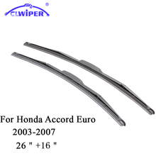 "CLWIPER Wiper Blades For HONDA ACCORD EURO (2003-2007)2004 2005 2006 Car Windscreen Wiper Windshield Wiper Blade 26""+16""(China)"