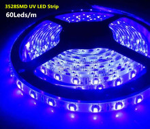 Free Shipping 5M UV 3528 SMD Purple 300Leds Flexible Strip Lights Waterproof / Non-Waterproof 12V Hight Quality Led Tape Ribbon(China)