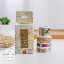 JC107  4 pcs/set Retro Stamps And Postmark Decorative Washi Tape DIY Scrapbooking Masking Tape School Office Supply