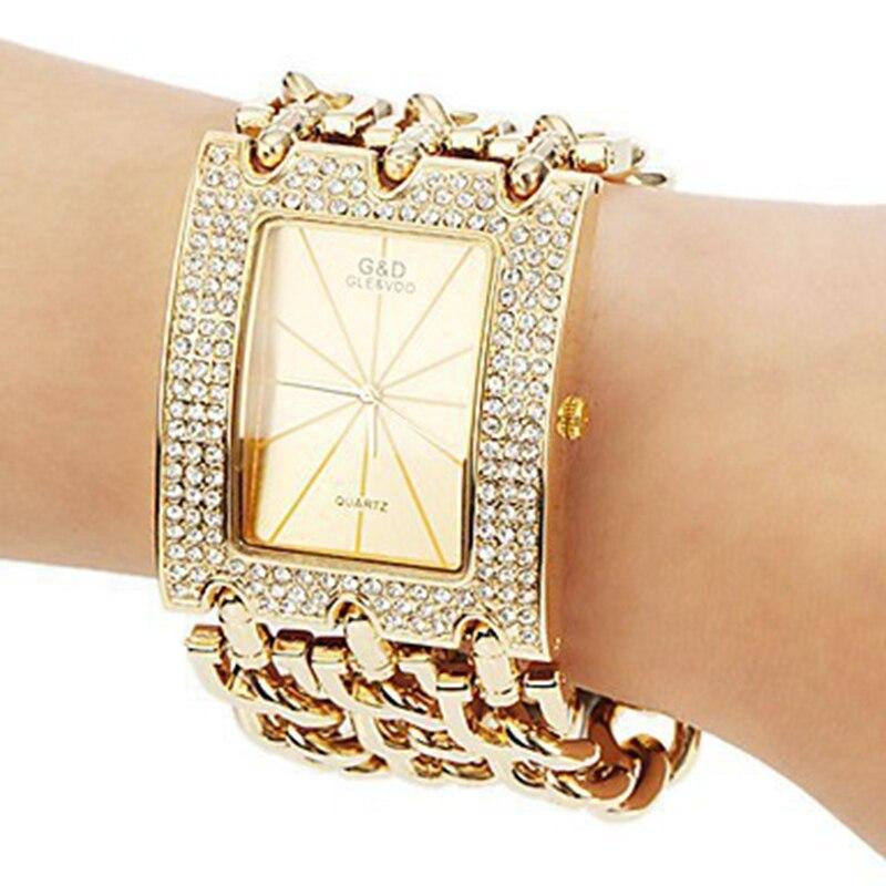 Luxury Watch Relogio Feminino Big Band Crystal Gold Quartz Watches Men Women Wriatwatch  Gifts Free Ship<br><br>Aliexpress