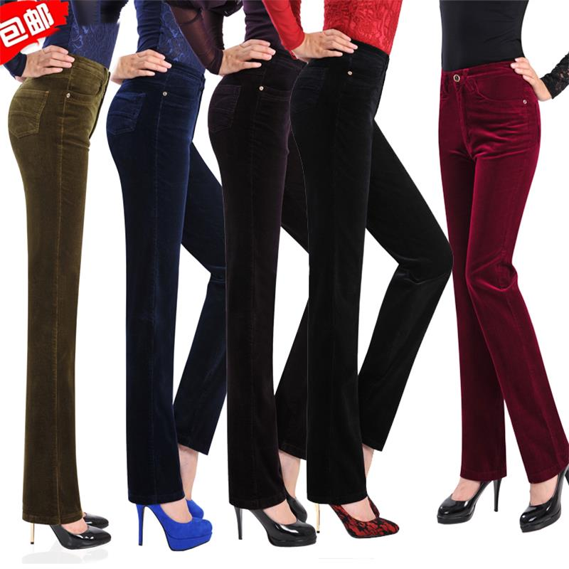 Free Shipping Women's Autumn Corduroy Straight Pants Ladys High Waist Business casual Candy Color Plus Size trousers Size 27-38
