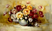 European Vintage style Flower Beautiful abstract Picture Oil Painting Canvas For Living Room , For Home Family decoration