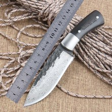 Hot Straight Handmade forged Damascus Steel hunting knife fixed blade knife 58HRC ebony handle Free shipping