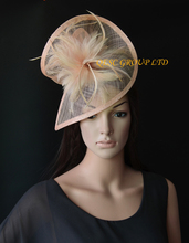 NEW Nude pink Sinamay feather fascinator for Kentucky Derby,wedding.Royal Ascot.FREE SHIPPING(China)