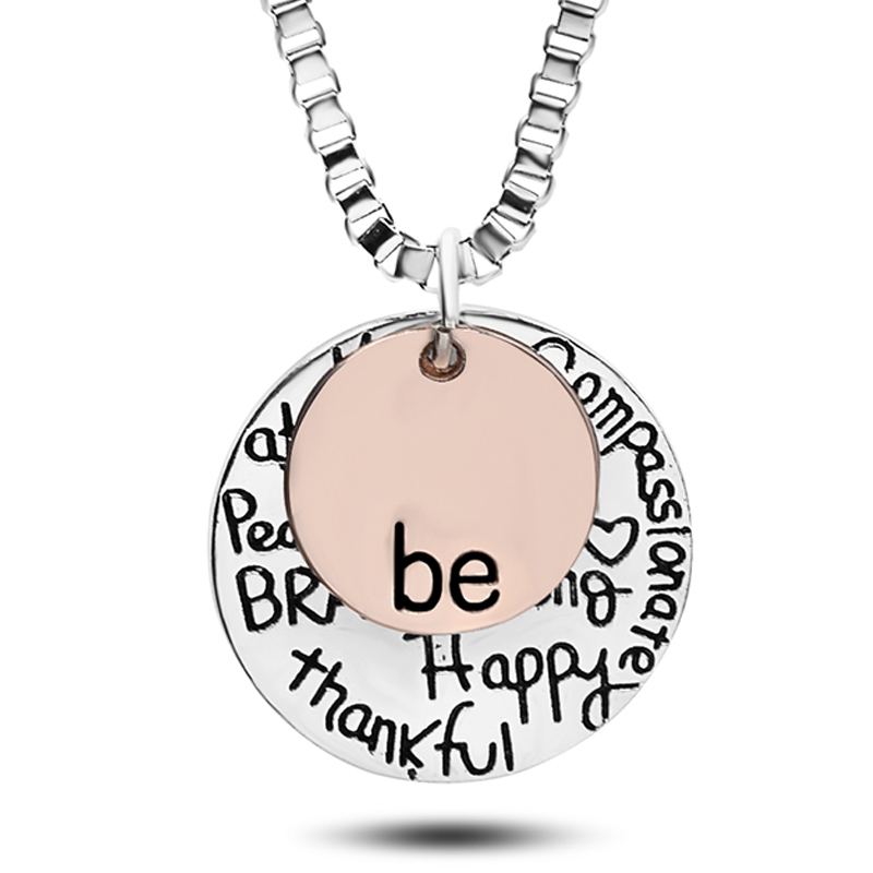 """Antique Silver Two-Tone /""""Be/"""" Happy brave thanksful 2 pcs engraved charms pendant"""