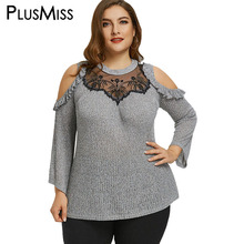 Buy PlusMiss Plus Size 5XL Flounced Cold Shoulder Top Women Clothing Long Sleeve Ruffle Mesh Sexy Lace Blouse Shirt Big Size Blusas for $12.85 in AliExpress store