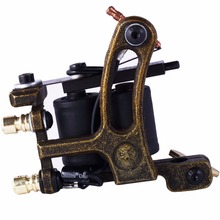 Top Shader Liner Tattoo Machine 10 Warp Coil Green Tattoo Gun Beginner Practice Tattoo Gun Permanent Makeup Machine(China)