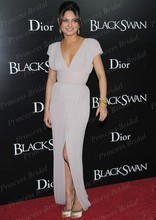 Sexy Deep V Neck Short Sleeve Mila Kunis V Neck Light Pink Dress at Black Swan Premiere in New York Red Carpet Dress CE1648