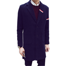 Men Trench coat 2016 Fashion Men Coat Casual single breasted Warm Coats Autumn & Winter Slim Male Outwear Plus Size M-5XL