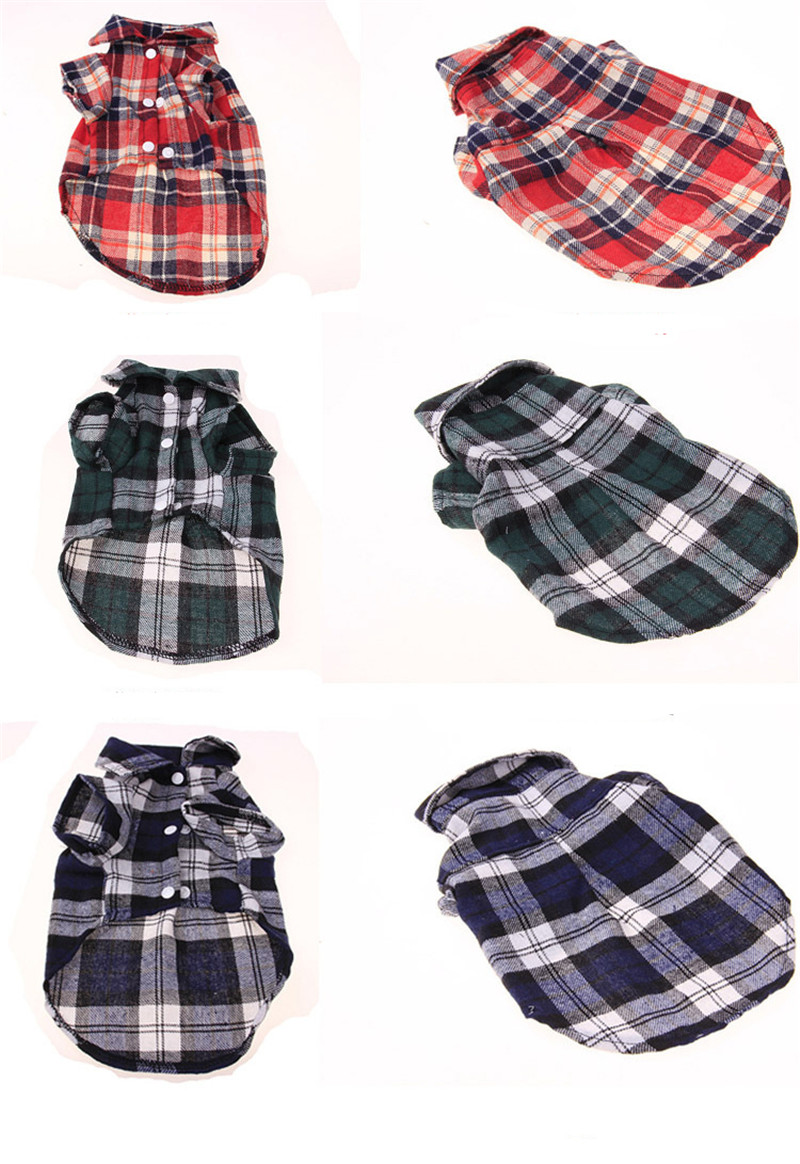 Pet Puppy Dog Clothes Summer Plaid Dog Shirt Coats Jackets Cat Grid Costumes for Small Medium Dogs Yorkies Chihuahua Clothes3