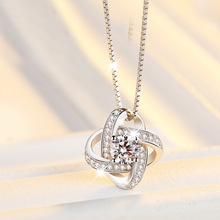 New Arrival 925 Sterling Silver Crystal Clover Necklaces Pendant Hot Sale Pure Silver Cross Jewelry for Women(China)