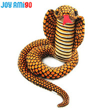Realistic Stuffed Cobra Body Curled Dolls Plush Snake Toys Over 1.2m/52inch from Nose to Tail Home Decoration Prank With Friend(China)