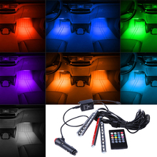 7 Color LED Car Neon Strip Flash Light Under Glow Underbody System Lamp Kit Remote Control For Car Interior Ligh lampi neon