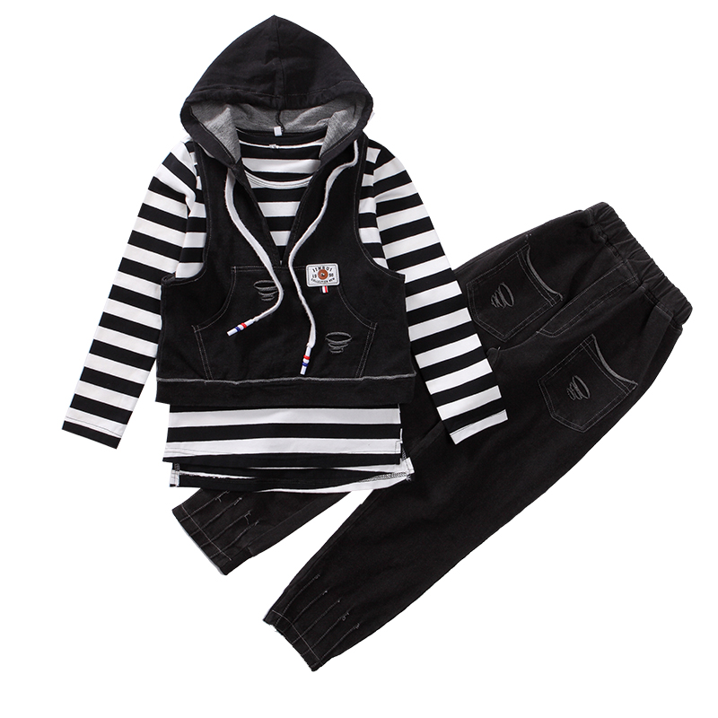 Kids Clothing Sets For Girls Hooded Waistcoats &amp; Striped T-shirts &amp; Jeans 3pcs/set 2018 Spring Children Denim Outfits Tracksuits<br>