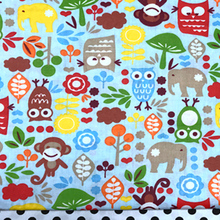 100x160cm Lucky Forest Animals Owl Monkey Elephant Cotton Fabric For DIY Sewing Bedding Clothing Quilting(China)