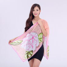Fashion Women Chiffon Floral Printed Designer Scarf Autumn Gradient Plaid Flower Casual Silk Scarves Long Wrap Pashmina(China)