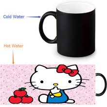 Hello Kitty mug 12 OZ/350ml morphing coffee mugs novelty heat changing color transforming Tea Mugs