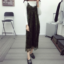 Buy 2017 autumn dress casual sling lace dress women long sleeve maxi dress patchwork womens clothing halter velvet dress for $17.08 in AliExpress store